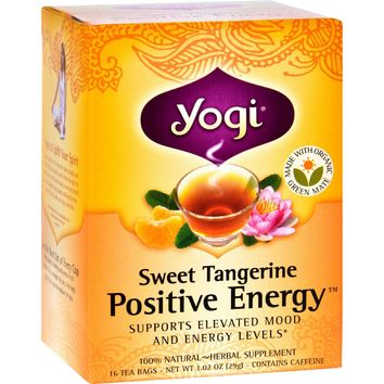 Yogi Positive Energy Herbal Tea Sweet Tangerine - 16 Tea Bags - Case Of 6