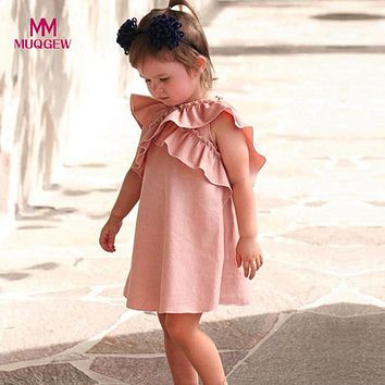 MUQGEW Dress For Girls Newborn Infant Baby Girl Butterfly Wings Ruffles Dresses Casual Sleeveless O-Neck Outfits Clothes dress