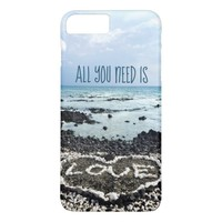 """""""Need Love"""" Quote Hawaii Beach & Coral Heart Photo iPhone 8 Plus/7 Plus Case"""