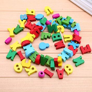 60pcs/lot Baby Kids Wooden Letter Paragraph Toy Colorful Stringing Threading Beads Puzzle Toy Children Educational Beads Pendant