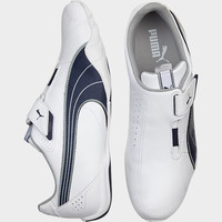 PUMA WHITE AND NAVY SLIP-ONS