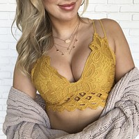 Free Lace Cami Bralette in Mustard