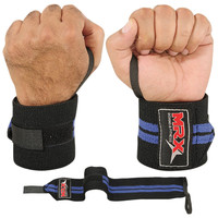 WEIGHT LIFTING TRAINING WRIST SUPPORT COTTON WRAPS GYM BANDAGE STRAPS BLUE 18""