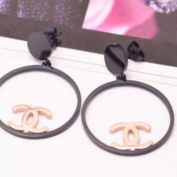 Chanel rose gold hoop earrings with simple anti-allergic titanium steel earrings
