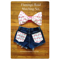 Festival outfit. White with Pink Flamingos Bow Bandeau and Matching Shorts. XS to Small Fit.  Teen, Women, Retro, high waisted Jean Shorts