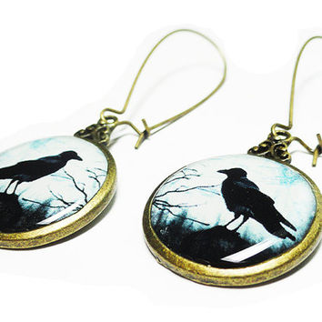 The Raven Earrings, Edgar Allan Poe, Dangle Earrings, Handmade Jewelry, gift, resin jewelry, Gift for her, Goth, Black Crow