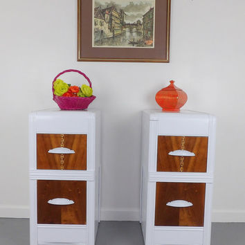 Night Stands End Tables Dresser Art Deco White Natural Inlaid Wood Shabby Chic French Provincial Pair 2 Modern Bedroom Furniture Bedside MCM