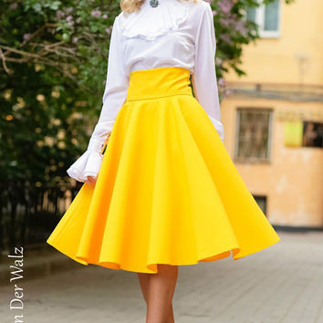 Yellow Maxi Skirt, Skirt with Pocket, circle skirt, Viscose,Cotton  / summer long skirt. Midi Skirt. plus size skirt available