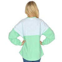 Long Sleeve Beachcomber in Seafoam with Mint Seersucker by Lauren James - FINAL SALE