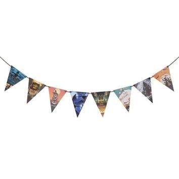 3.2M DIY Happy Halloween Banners Garland Witch Ghost Pumpkin Skull Pennants Hanging Paper Chain Home Bar Birthday Party Decor