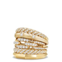 David Yurman Stax Five Row Ring with Diamonds in 18K Gold | Bloomingdales's