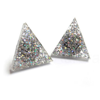 Holographic Triangle Earrings,Silver Glitter Earrings,Iridescent Earrings,Glitter Jewelry,Sparkle Earrings,Triangle Geometric Jewelry (E242)