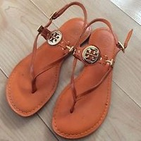Tory Burch Ali Flat Thong Sandals Orange Patent Genuine Leather Size 5.5 Women's