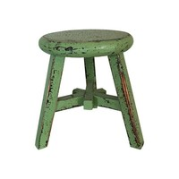 Distressed Green Stool