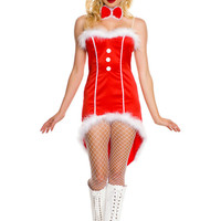 Red Strapless Fur Trimmed AsymmetricTuxedo Christmas Costume