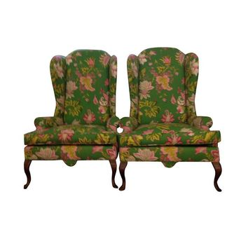Pre-owned Queen Anne Style Wingback Chairs - A Pair