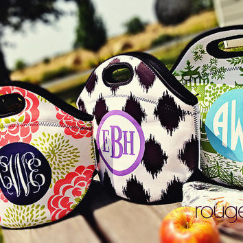 monogrammed lunch cooler - insulated zipper tote bag with customizable pattern and monogram