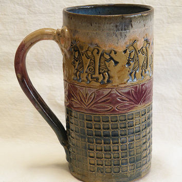southwest kokopelli ceramic coffee mug 20oz stoneware 20B049