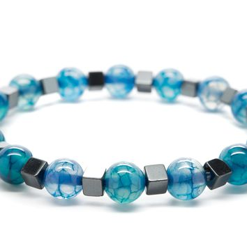 Blue Agate and Hematite Gemstones Beaded Bracelet for Men and Women