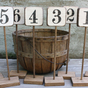 FREE SHIP Set of 20 Distressed Rustic Wood Wedding Table Numbers Tags Sign Stands White