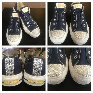 Custom Made To Order Laceless Adult's Swarovski Crystal Converse Shoes