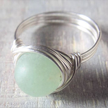 Green Aventurine Ring, Simple Ring, Wire Wrapped Ring, Matte Stone Ring, Aventurine Jewelry, Green Stone Ring, Silver Wire Ring, Birthday