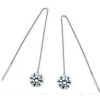 Box Chain CZ Earrings in 925 Sterling Silver
