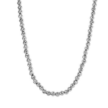 Silver Rhodium Finish 4.8mm Shiny Diamond Cut Bead Chain with Pear Shape Clasp
