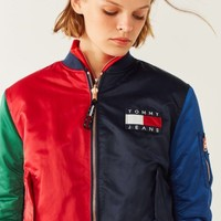 """ Tommy Hilfiger "" Fashion  Hit color Two sides wear With velvet Coat"