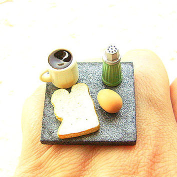 Food Ring Coffee Egg Toast Miniature Food Jewelry