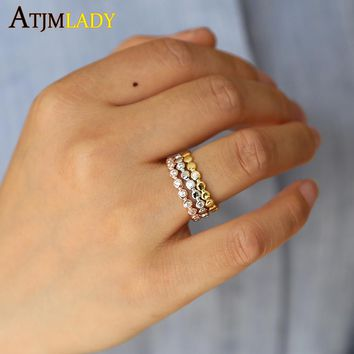 925 sterling silver rose gold silver color three stack rings hot fashion 2018 new design stackable full finger 3pc/set ring