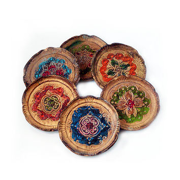 Vintage Florentine Coasters , Set of 6 Piece Coasters ,Made in Italy .