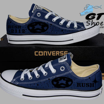 Hand Painted Converse Lo Sneakers. Rush 2112 Music Band. Alex, Neil, Geddy. Handpainted shoes.