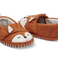ORANGE FELT FOX FACE TINY TOMS CRIB ALPARGATAS