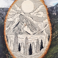 NATURE WOOD SLICE - original sketch sign