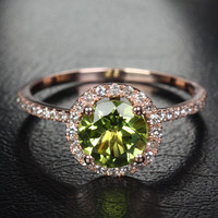 7mm VS Peridot 14k Rose Gold Pave Diamonds Engagement/Promise Halo Wedding Ring