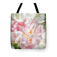 Pink Peony Shopping Tote Bag. Floral Tote Bag.