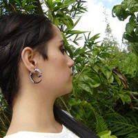 Fake Gauge, Organic Black Horn, Split Gauge Sprial  Earrings Fancy Tribal