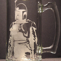 Star Wars Boba Fett bounty hunter inspired Beer Mug Engraved Glass