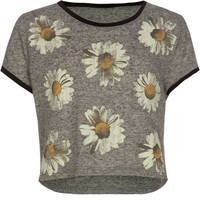 Full Tilt Daisy Girls Crop Tee Heather Grey  In Sizes
