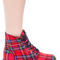 T.U.K. Plaid 7 Eye Boot Red