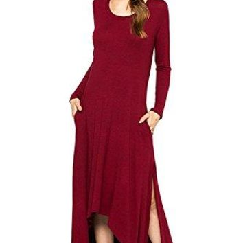12 Ami Kate Long Sleeve Slit High Low Maxi Dress  Made in USA