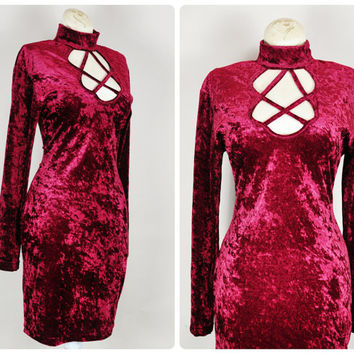 burgundy cranberry wine crushed velvet pentagram cutout tight bodycon choker grunge goth mini dress vintage 1990s