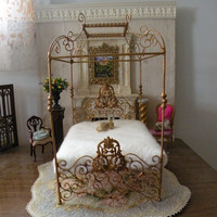 """Dollhouse Miniature Artisan Made Wrought Iron Bed """"Paisley"""", 1:12 Dollhouse Scale, Barbie Scale, 18"""" Doll Scale"""