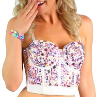 Pink and Ivory Broken Rhinestones Rave Crop Top