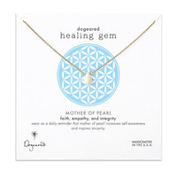 healing gem mother of pearl necklace, gold dipped, 16 inch