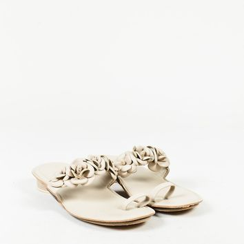 Chanel Beige Leather Camellia Flower Toe Strap Flat Sandals