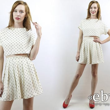 Matching Set Two Piece Set Two Piece Outfit Separates Cropped Top High Waisted Skirt Vintage 90s Polka Dot Crop Top + Skirt Outfit XS S