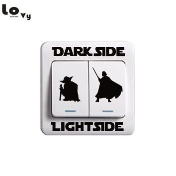 Classic Movie Star Wars Dark Side Light Side Switch Sticker Cartoon Vinyl Wall Stickers Home Decor 014