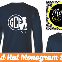 Marching Band Hat  Monogram Shirt - you pick colors